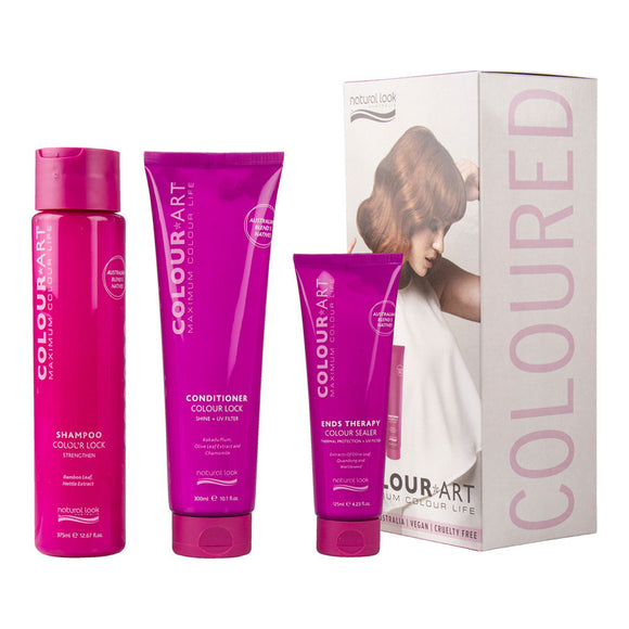 Natural Look Colour Art Pack - Colour Lock Shampoo 375ml, Colour Lock Conditioner 300ml, and Ends Therapy 125ml $31.2  Glamabox Cosmetix ☆ 9319337012282 Shop Cosmetics Online Glamabox Cosmetix ☆ Best Beauty Brands! Shop Skincare, Haircare & Makeup. Find all of your Beauty needs right here. Shop Makeup with Afterpay✓ Humm✓ Laybuy✓ Free Shipping*