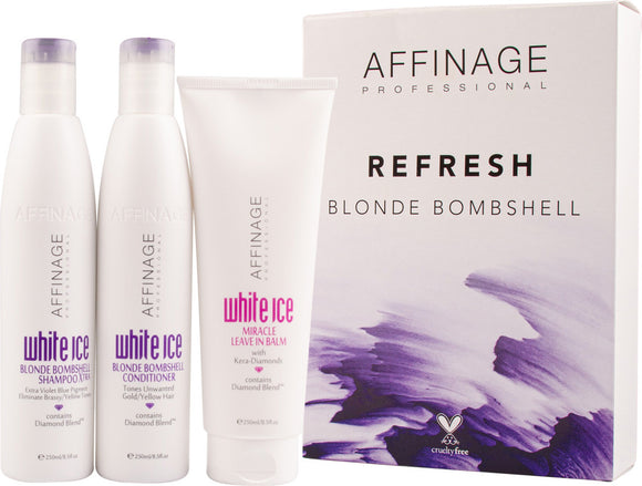 Affinage Blonde Bombshell and Miracle Leave In Balm Trio Christmas Pack $35 Hair Set's & Packs Affinage 9329633008650 Glamabox Cosmetix ☆ Afterpay Humm Pay  Laybuy Cosmetics Online Free Shipping