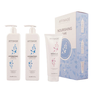 Affinage Cleanse & Care Nourishing Care - Hydrating Shampoo 375ml, Conditioner 375ml and Miracle Leave In Balm 250ml