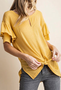 Solid Frill Sleeve Top
