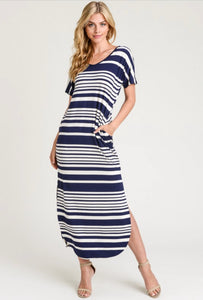 Hold Me Near-Striped Navy Dress