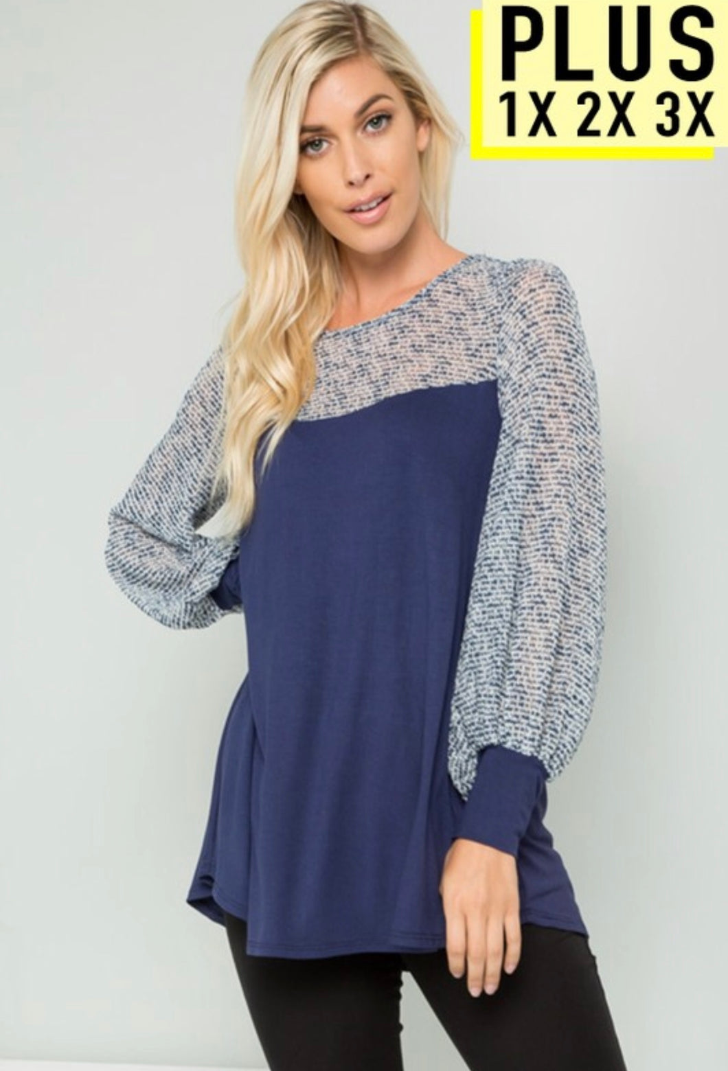 Solid Puff Sleeve Contrast Top