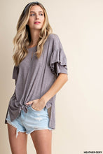 Load image into Gallery viewer, Solid Frill Sleeve Top- Grey