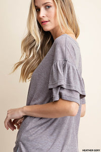 Solid Frill Sleeve Top- Grey