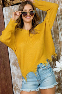 Take You Anywhere - Distressed V Neck Sweater