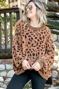 Leopard Feather- Wide Sleeve Sweater