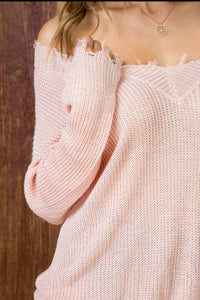 Ready For Fun - Distressed V Neck Sweater