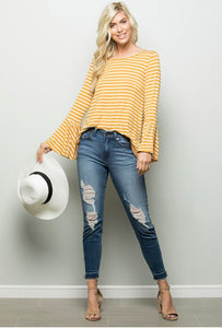 Love You Most - Bell Sleeve Striped Top