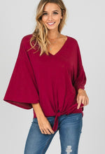 Load image into Gallery viewer, Wine With Me - Bell Sleeve V Neck Top