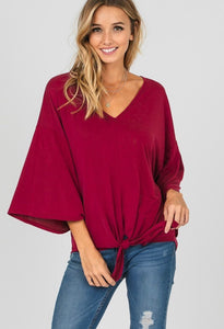 Wine With Me - Bell Sleeve V Neck Top