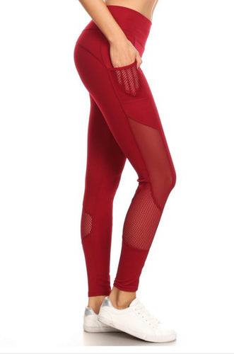 Burgendy Mesh Detail Legging