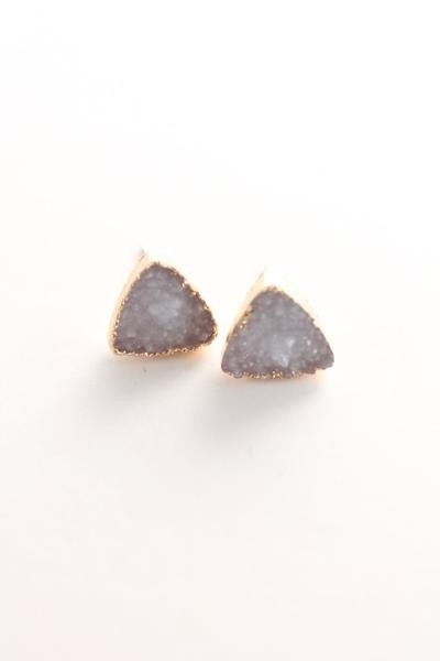 Triangle druzy stud earrings.