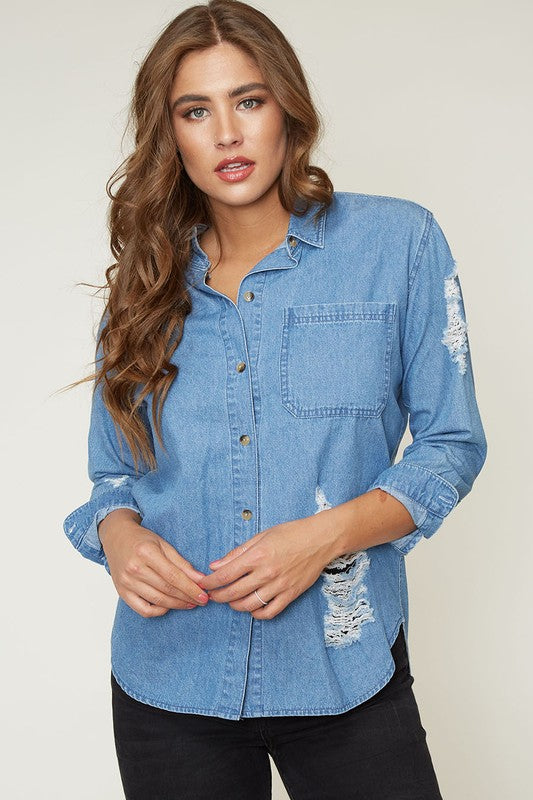 Distressed Denim Top