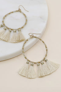 Beaded and Tasseled Circular Dangling Earrings