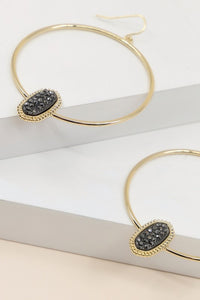 Hoop Earrings with Embellished Stone