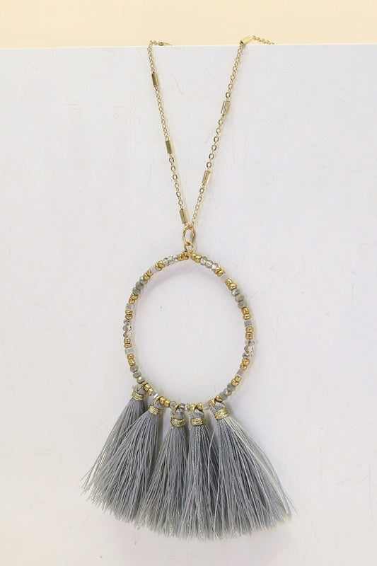 Beaded and Tasseled Circular Dangling Necklace- Grey