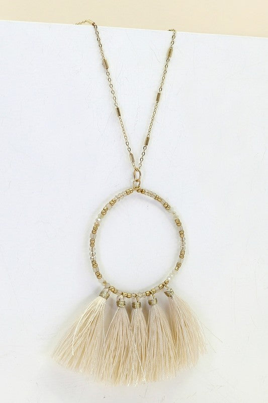 Beaded and Tasseled Circular Dangling Necklace- Ivory