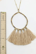 Load image into Gallery viewer, Beaded and Tasseled Circular Dangling Necklace- Ivory