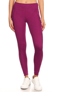 Plum Mesh Detail Legging