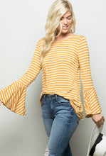 Load image into Gallery viewer, Love You Most - Bell Sleeve Striped Top