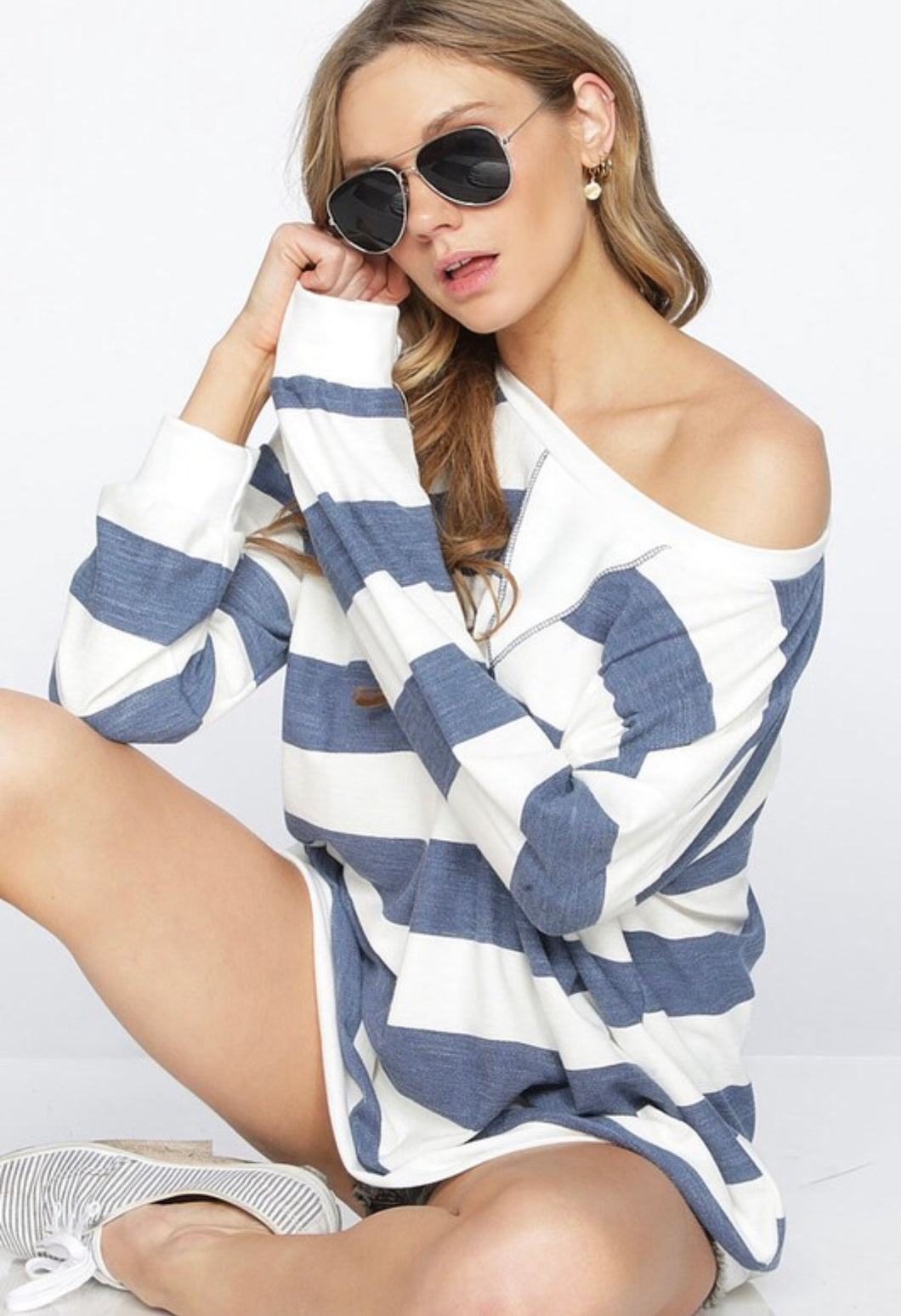 Relax With Me - Striped Pull Over Top