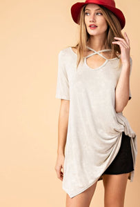 Cut Out Stone Washed Tee