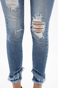Walk the Line Jeans - Light Wash Distressed
