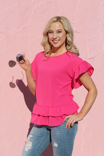 Ruffled Up Pink Top