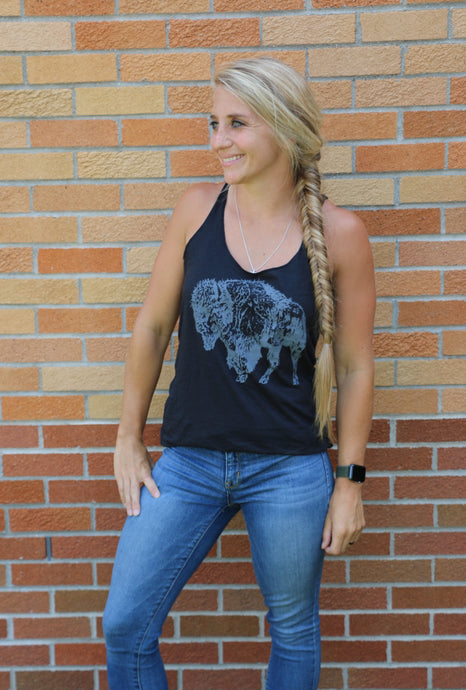 buffalo shirt, bison shirt, buffalo, bison, thank you for my fitness, tank top, tri-blend, Bella Canvas