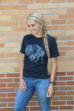 Load image into Gallery viewer, buffalo t-shirt, bison t-shirt, short sleeve shirt, tri-blend shirt, thank you for my fitness