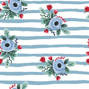 Blue Stripe Patriotic Farm Florals