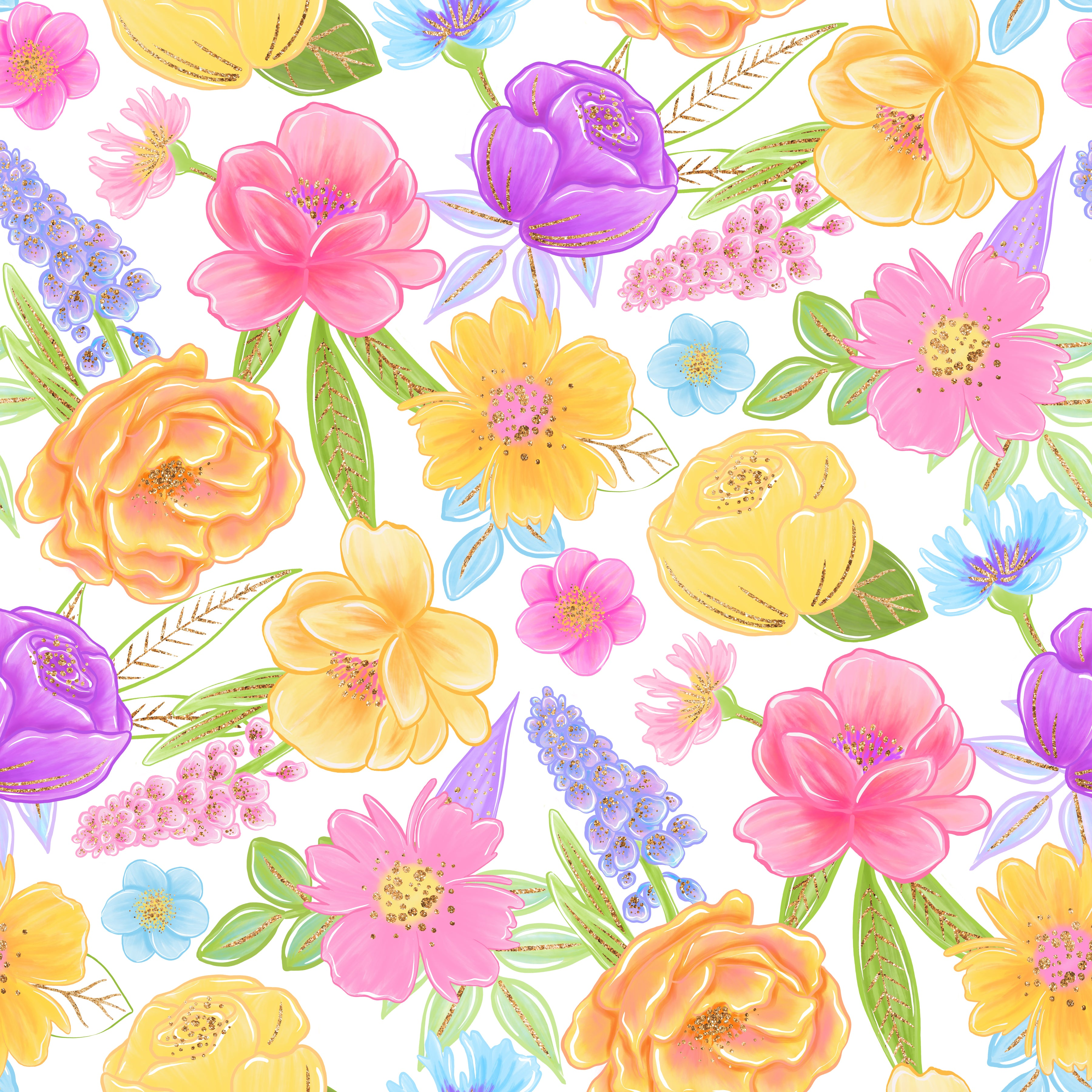 White Yellow Lavender Pink Floral Mix