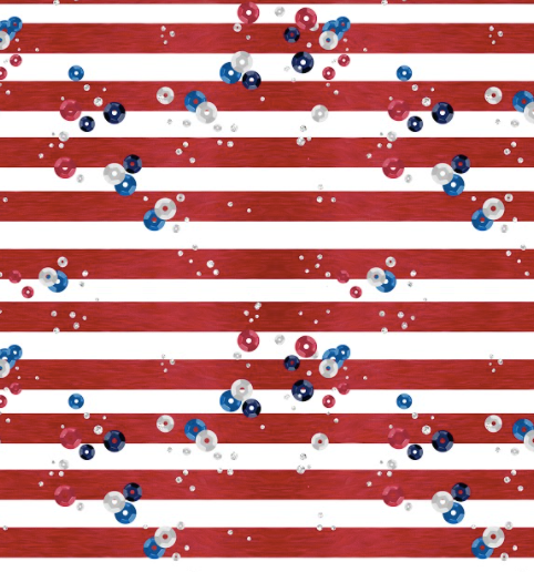July 4th Patriotic Fabric - Red White Blue Sequins