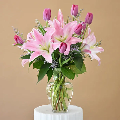 Pink Lily and Tulips Arrangements