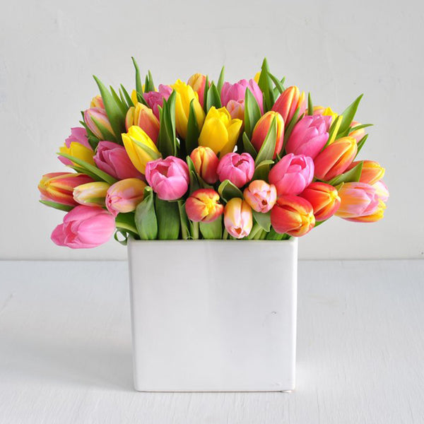 Colorful Tulip Centerpiece Arrangement