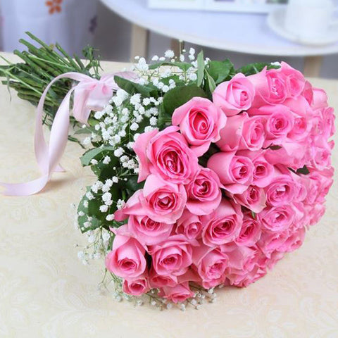 25 Pink Rose Hand Tied Bouquet