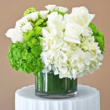 Centerpiece of White and Green Blooms