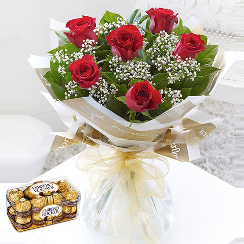 Bouquet of 6 Red Roses with Ferrero Rocher Chocolate Box