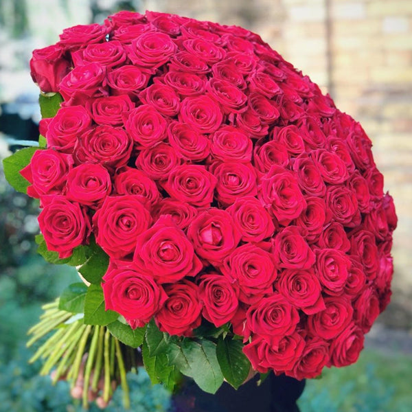 Extreme Love 100 Red Roses Hand Tied Bouquet