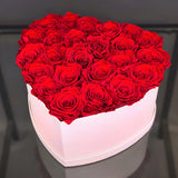 Red Roses in Heart Shaped Flower Box