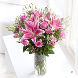 Beauty Pink Lily and Roses Arrangement in a vase