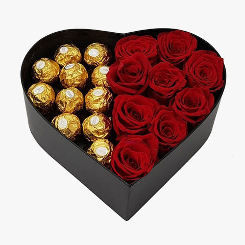 Box of Love - Red Roses and Ferrero Rocher Chocolates