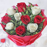 Bouquet of 10 Red and White Roses with Ferrero Rocher Chocolate Box (16 Pieces)