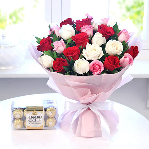 Bunch of 25 Mix Roses with Box of Ferrero Rocher Chocolate