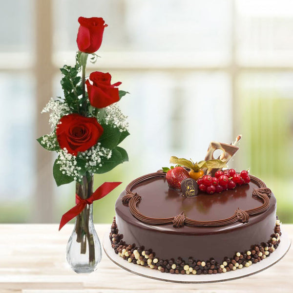 Chocolate Truffle Cake with 3 Red Roses in a Vase