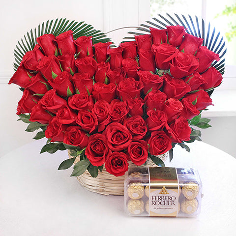 Heart Shaped Arrangement of 50 Red Roses with Ferrero Rocher Chocolate Box