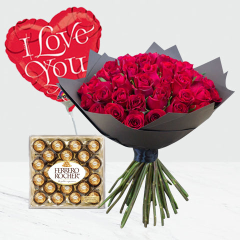 I Love You Bouquet with Ferrero Rocher Chocolate and Balloon