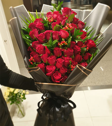 Luxury Wrapped 50 Red Roses Bouquet