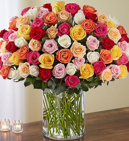 Beautifully Crafted Mixed Colour Roses