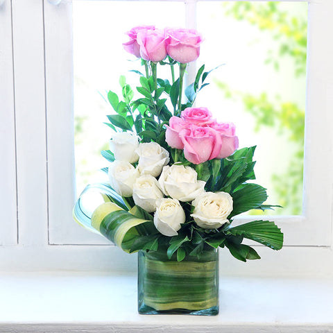 Elegance Arrangement of White and Pink Roses in a Vase